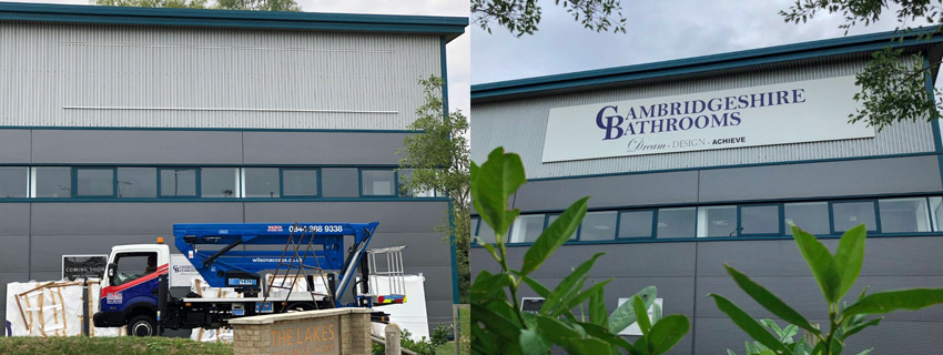 High-level signage installation | signs and graphics | Footprint signs Cambridge