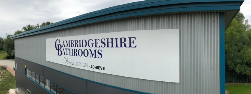 High-level sign installation | signs and graphics | footprint signs Cambridge